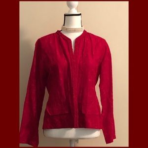 Chico's (Sz1) Red Linen & Silk Embroidered Jacket